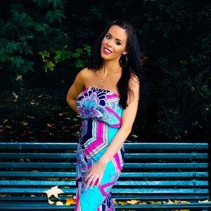 Pink Owl Aztec Chevron Maxi Dress turquoise S